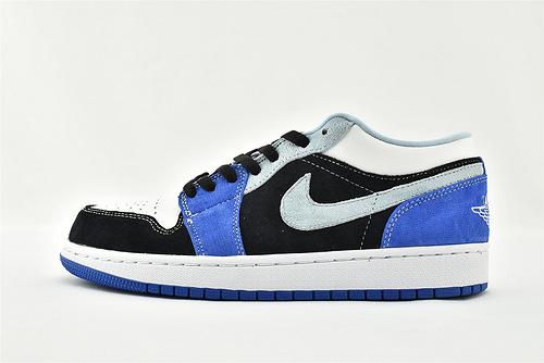 Air Jordan 1 AJ1 Low 乔丹1代低帮篮球鞋/黑白灰蓝 拼色   货号:DH0206-400  男女鞋  情侣款