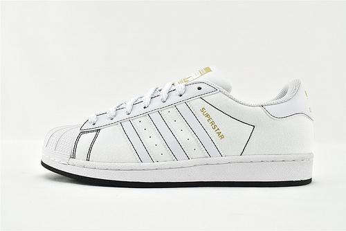 Adidas 三叶草 Superstar 贝壳头板鞋/帆布 白黑  货号:AJ7924   男女鞋  情侣款