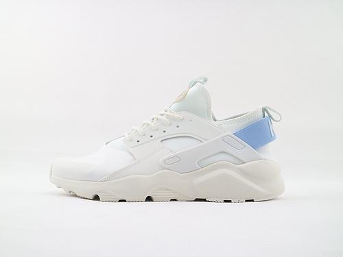 Nike Air Huarache Run Ultra 华莱士4.0系列跑鞋/全白 蓝尾  货号:847568 103  男女鞋  情侣款