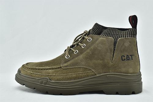 卡特/CAT 2020秋冬新款 美中低帮休闲皮鞋/草绿 浅灰 两色 套袜款  全头层   男鞋