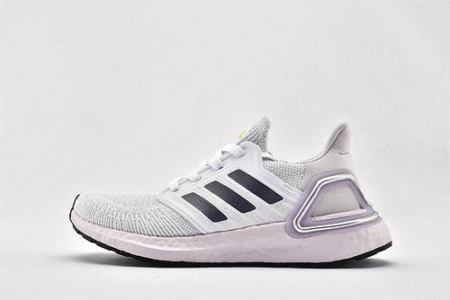 Adidas ULTRA BOOST UB 20 米花缓震跑鞋/灰黑 浅紫  货号:EG0762  女鞋