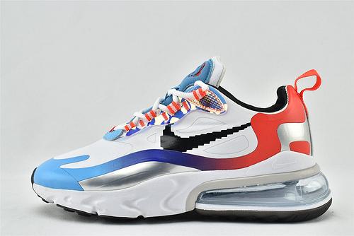 "Nike AirMax 270 React ""BAUHAUS"" 半小掌气垫气垫跑鞋/白彩虹 电玩   货号:DC0833-101    男女鞋    情侣款"