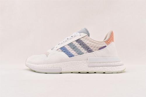 Adidas ZX500 RM x Commonwealth 爆米花联名跑鞋/白彩虹  货号:DB3510  男女鞋  情侣款