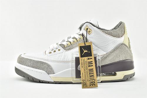 Air Jordan 3 x A Ma Maniere AJ3 乔丹3代篮球鞋/联名 米白灰 做旧 氧化联名  纯原版  货号:DH3434-110   男女鞋  情侣款