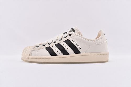 Adidas 三叶草 Superstar 贝壳头帆布系列/米白 水晶底  货号:S82580  男女鞋 情侣款