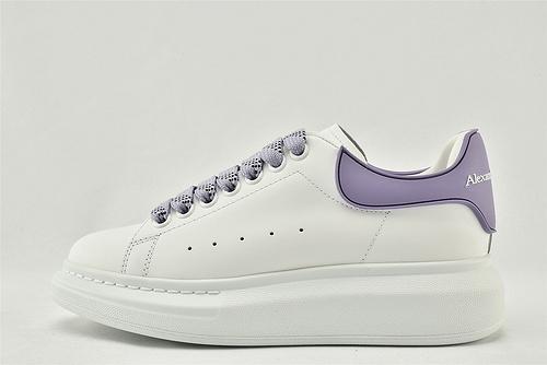 Alexander McQueen/亚历山大麦昆 松糕鞋厚底增高小白鞋/全白 紫尾 字母  原盒装  女鞋
