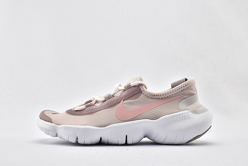 Nike Free RN 5.0 赤足缓震跑鞋/粉白 经典 原盒原标 分离式大底 透气网面 2020最新款  货号:CJ0270-600  女鞋