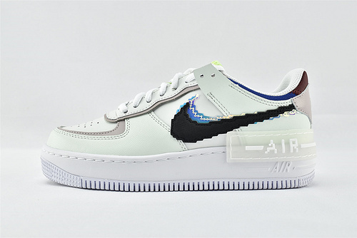 Nike Air Force1 Sage AF1 空军一号/低帮 女解子构板鞋 厚底 马卡龙 双钩 白绿粉 粉蓝像素   货号:CV8480-300  女鞋