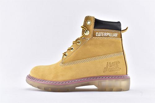 卡特/CAT 2019美版高帮工装靴/大黄靴 小麦色 水晶底透明 粉色镶边 女款