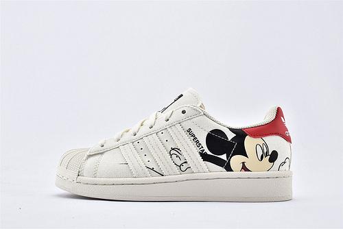 Adidas 三叶草 Superstar 贝壳头板鞋/帆布 米白  联名米奇 迪斯尼联名米老鼠  货号:FW2901  男女鞋  情侣款
