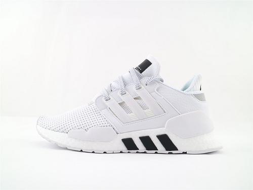Adidas EQT Support 91/18 BOOST 复古爆米花跑鞋/全白黑 货  货号:BD7792  男女鞋  情侣款