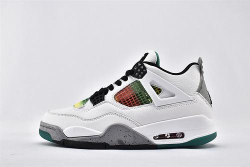 Air Jordan 4 AJ4 Rasta乔丹4代篮球鞋/牙买加 白红绿渐变灰 泼墨水泥   货号:AQ9129-100  男鞋