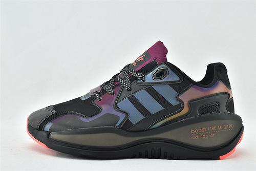 Adidas 三叶草 ZXALKYNEBoost 2020新款爆米花跑鞋/黑镭射 3M反光版【180款】  原装版  货号:FY9811  男女鞋 情侣款