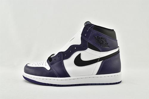 Air Jordan 1 High  OG  AJ1 乔丹1代高帮篮球鞋/白紫脚趾 紫葡萄  原装  货号:555088-500  男女鞋 情侣款