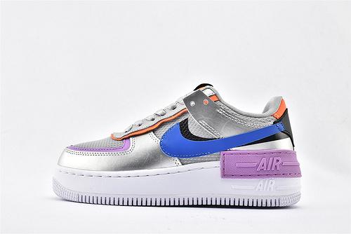Nike Air Force1 Sage AF1 空军一号/低帮女子解构板鞋 厚底 马卡龙 银灰紫蓝 拼色  货号:CW6030-001  女鞋