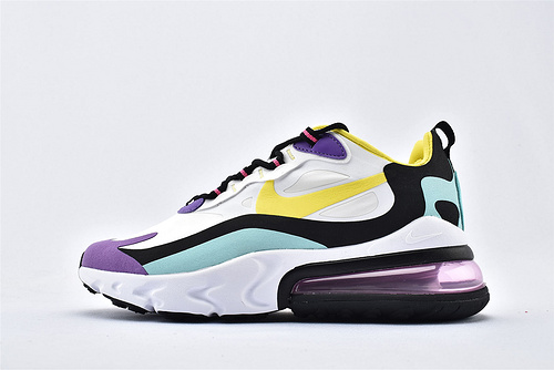 "Nike Air Max 270 React ""BAUHAUS"" 半小掌气垫气垫跑鞋/白黑紫黄拼色 泡棉  货号:AT6174-101  男女鞋   情侣款"