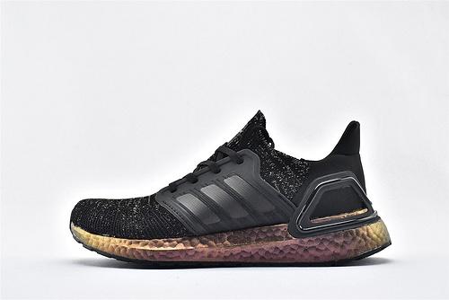 Adidas ULTRA BOOST UB 20 米花缓震跑鞋/黑金 满天星   货号:FV8340  男女鞋  情侣款