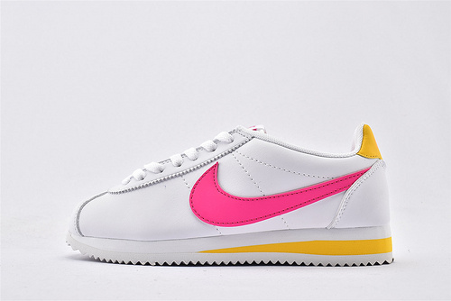 Nike Classic Cortez阿甘系列跑鞋/白粉黄拼色  纯原版  货号:905614-106  女鞋