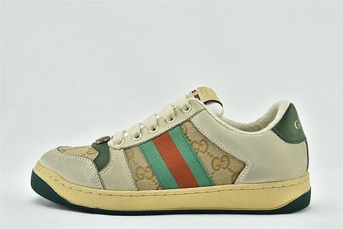 Gucci/古驰 小脏鞋 系列板鞋/灰绿红 老花配色 经典 原版自然做旧 发售   芯片 版   女鞋