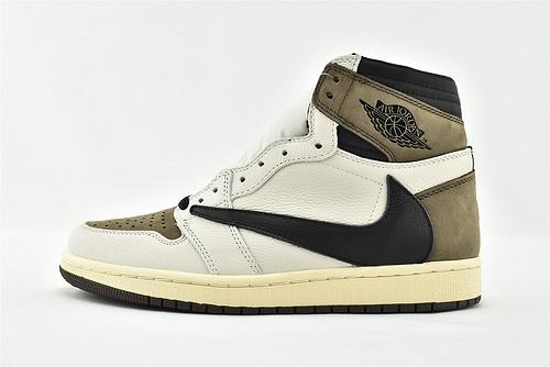 Air Jordan 1 AJ1 乔丹1代高帮篮球鞋/ 反勾 黑白棕  原装版  货号:CD4487-001    男女鞋  情侣款