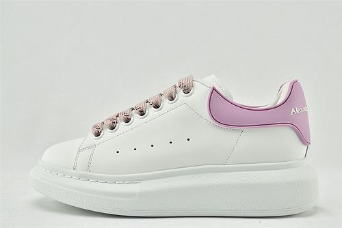 Alexander McQueen/亚历山大麦昆 松糕鞋厚底增高小白鞋/全白 粉尾 字母  原盒装  女鞋