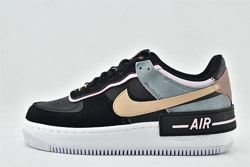 Nike Air Force1 Sage AF1 空军一号/低帮女解子构板鞋 厚底 马卡龙 双钩 黑粉拼色  货号:C U5315-001  女鞋