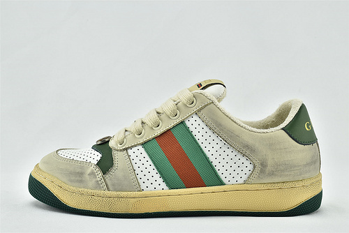 Gucci/古驰 小脏鞋 系列板鞋/灰白红绿 拼色 情侣款 经典 原版自然做旧 发售   芯片 版   女鞋