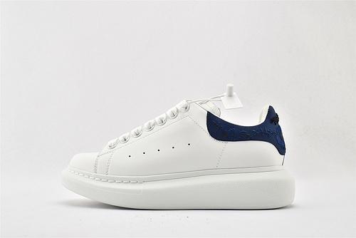 Alexander McQueen/亚历山大麦昆 松糕鞋厚底增高小白鞋/全白 深蓝尾 刺绣  男女鞋  情侣款