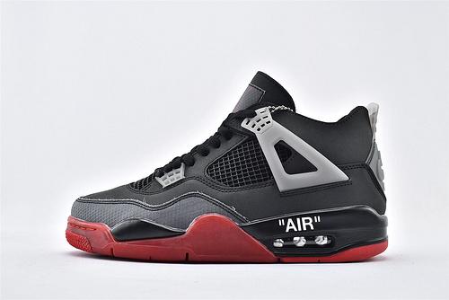 Air Jordan 4 Retro Bred AJ4 乔丹4代篮球鞋/联名 黑红 字母印花  全头层  货号:308497-660  男鞋