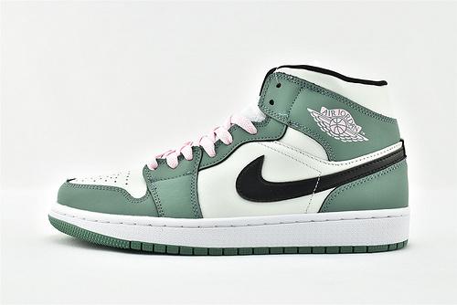 Air Jordan 1 Mid AJ1 乔丹1代中帮篮球鞋/白绿粉  货号:CZ0774-300  男女鞋  情侣款