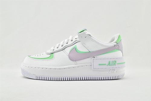 Nike Air Force1 Sage AF1 空军一号/低帮女解子构板鞋 厚底 马卡龙 双钩 白绿紫   货号:CU8591-103   女鞋