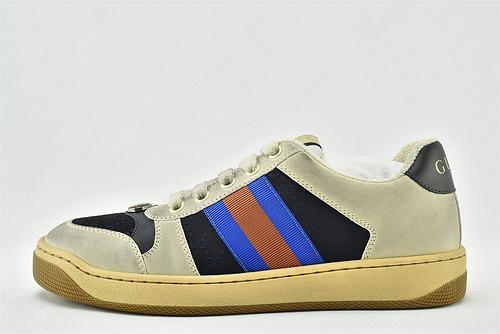 Gucci/古驰 小脏鞋 系列板鞋/灰黑蓝 经典 原版自然做旧 发售    芯片 扫码版 版  男女鞋  情侣款