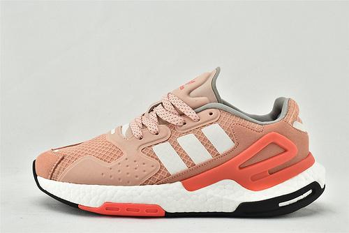 Adidas 三叶草 DAY JOGGER boost 夜行者2.0缓震跑鞋/全粉白 粉色 3M反光版  货号:F W4828 女鞋