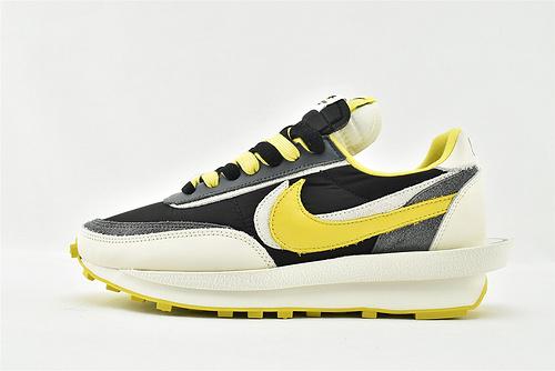Sacai x Nike LVD Waffle Daybreak 华夫 2.0 联名走秀款解构高端跑鞋/牛津布面 黑黄  货号:DJ4877-001  男女鞋  情侣款