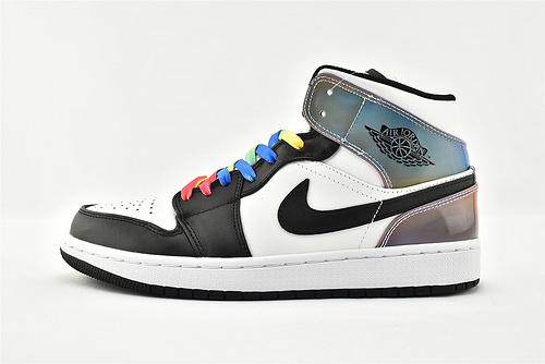 Air Jordan 1 Mid AJ1 乔丹1代中帮篮球鞋/黑白 镭色 炫彩  货号:DM7802-100  男女鞋  情侣款