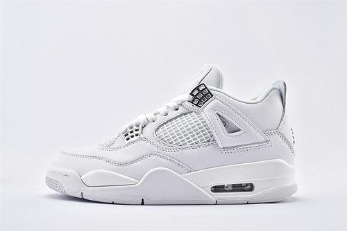 Air Jordan AJ4 乔丹4代篮球鞋/纯白 白银 白猫 纯头层  纯原版  货号:308497-100  男鞋