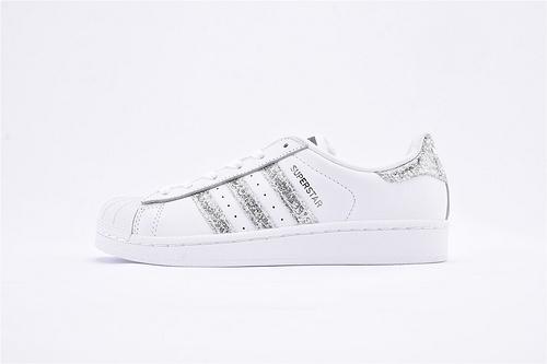 Adidas 三叶草 Superstar 贝壳头系列/全白 银钻 全头层  货号:S76923  女鞋