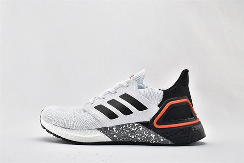 Adidas ULTRA BOOST UB 20 米花缓震跑鞋/黑白 泼墨    货号:FX8333   男女鞋  情侣款