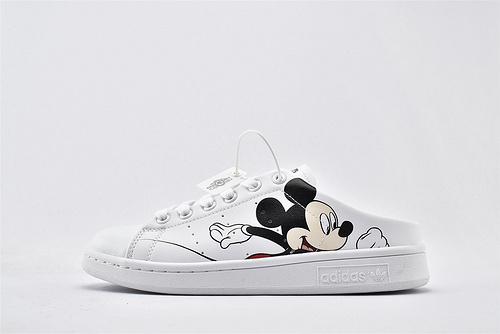 Adidas 三叶草 Stan Smith 史密斯板鞋/半拖 米奇印花  货号:FX2901  女鞋