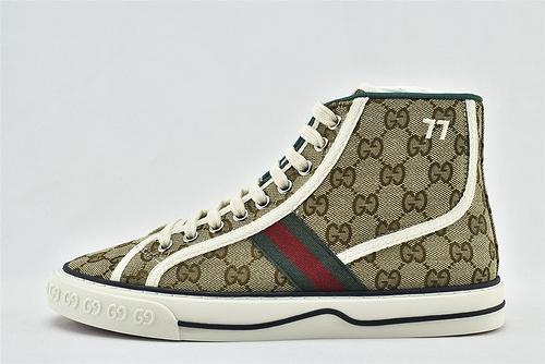 Gucci/古驰 Gucci 鼠年限定款 2020最新发售 经典帆布高帮板鞋/经典 老花 配色  版 芯片版  男女鞋  情侣款