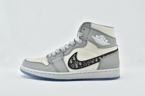 """迪奥/Dior x Air Jordan 1 High OG """"Grey""""AJ1 乔丹1代中帮篮球鞋/""""冰蓝迪奥""""白灰 联名款  原盒版  货号:CN8607-002    男鞋"""