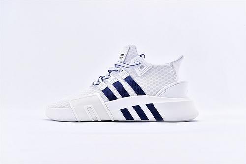 Adidas EQT Bask ADV 复古篮球鞋/网面 白蓝 2019夏季新款  货号:BD7782  男女鞋  情侣款