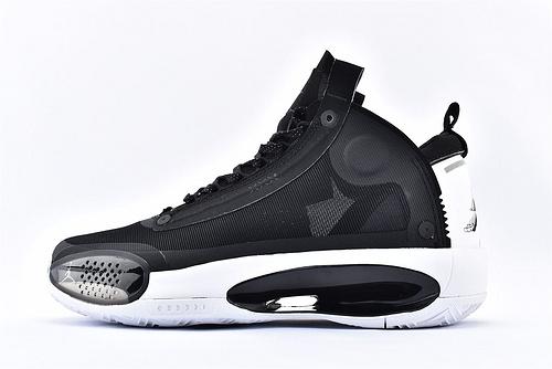 Air Jordan XXXIVPF 34 AJ34 乔丹34代篮球鞋/郭艾伦 黑白熊猫 首发黑白 日食镂空 款 实战篮版  货号:BQ3381-001  男鞋