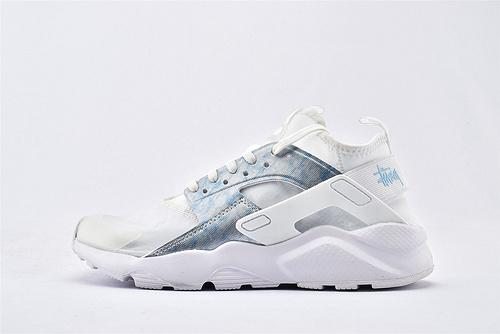 Nike Air Huarache Run Ultra 华莱士4.0系列跑鞋/全白 蓝迷彩 网纱透明款 2020夏季新款  货号:875868-003  男女鞋  情侣款