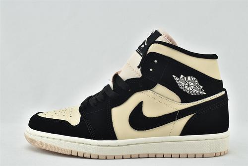 Air Jordan 1 Mid AJ1乔丹1代中帮篮球鞋系列/黑粉 黑奶茶   货号:DC0774-300  男女鞋  情侣款