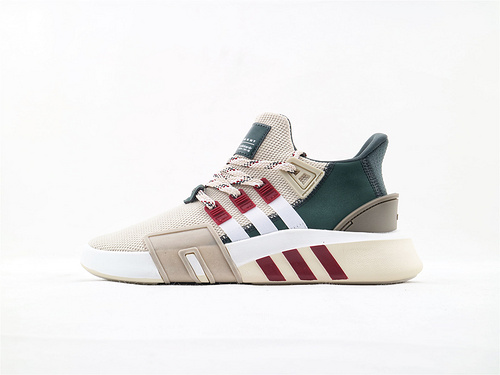 Adidas EQT Bask ADV 复古篮球鞋/浅咖绿 酒红  货号:F33854  男鞋