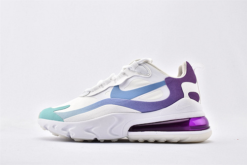 "Nike Air Max 270 React ""BAUHAUS"" 半掌小气垫气垫跑鞋/白绿渐变紫 泡棉  芯片版  货号:AT6174-102  女鞋"