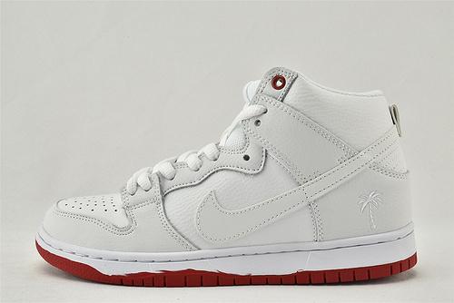 Nike SB Dunk High高帮滑板鞋/白红 棕榈树  货号:AH9613-116   男女鞋  情侣款