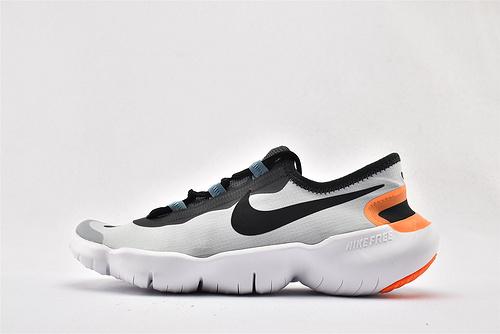Nike Free RN 5.0 赤足缓震跑鞋/灰黑 橙尾 原盒原标 分离式大底 透气网面 2020最新款  货号:CI9921-400  男鞋