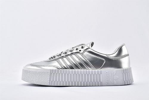 Adidas 三叶草 AMBAROSE W 女子经典厚底板鞋/白银  货号:FV4325  女鞋